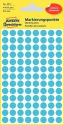Markierungspunkte, blau, 8 mm, permanent, 4 Blatt = 416 Etiketten/Punkte.