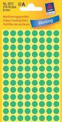 Avery Zweckform Markierungspunkte, Ø 8mm, grün, 416 Etiketten, Packung à 4 Blatt