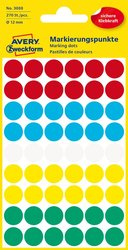 Markierungspunkte, sortiert, 12 mm, permanent, 5 Blatt = 270 Etiketten/Punkte.