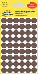 Markierungspunkte, taupe, 12 mm, permanent, 5 Blatt = 270 Etiketten/Punkte.