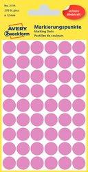 Markierungspunkte, rose, 12 mm, permanent, 5 Blatt = 270 Etiketten/Punkte.