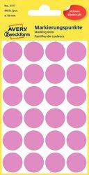 Markierungspunkte, rose, 18 mm, permanent, 4 Blatt = 96 Etiketten/Punkte.