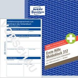 Erste Hilfe Meldeblock, A5, 50 Blatt, zur Dokumentation von Unfällen, Originale mit Perforation und Lochung.