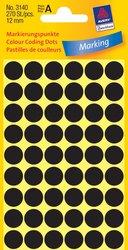 Markierungspunkte, schwarz, 12mm, permanent, 5 Blatt = 270 Etiketten/Punkte.