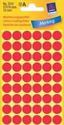 Markierungspunkte, rot, 12 mm, permanent, 5 Blatt = 270 Etiketten/Punkte.