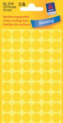 Avery Zweckform Markierungspunkte, Ø 12mm, gelb, 270 Etiketten, Packung à 5 Blatt
