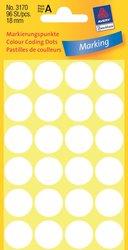 Markierungspunkte, weiß, 18 mm, permanent, 4 Blatt = 96 Etiketten/Punkte.