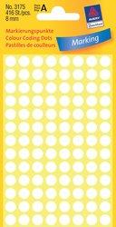 Avery Zweckform Markierungspunkte, Ø 8mm, weiß, 416 Etiketten, Packung à 4 Blatt