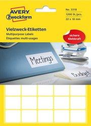 Avery Zweckform Vielzwecketiketten, 22x18mm, 1200 Etiketten, weiß, für Handbeschriftung, Packung à 30 Blatt