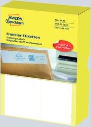 Frankieretikett für Frankiermaschinen von Frama, 150 x 45 mm, weiß, doppelt.