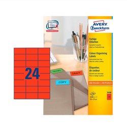 Rotes Etikett, für Inkjet / Farblaser / Laser (s/w) / Kopierer, 70 x 37 mm, permanent, 2400 Etiketten.