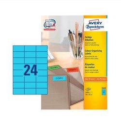 Blaues Etikett, für Inkjet / Farblaser / Laser (s/w) / Kopierer, 70 x 37 mm, 2400 Etiketten.