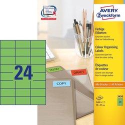 Grünes Etikett, für Inkjet / Farblaser / Laser (s/w) / Kopierer, 70 x 37 mm, 24 Etiketten pro Bogen.