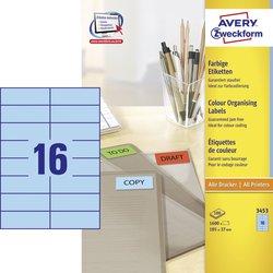 Avery Zweckform Etiketten, 105x37mm, 1600 Etiketten, blau, für Laser-, Farblaser-, Inkjetdrucker, Kopierer, Packung à 100 Blatt, Blattformat: DIN A4
