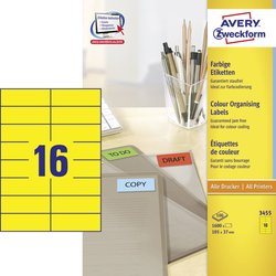 Gelbes Etikett, für Inkjet / Farblaser / Laser (s/w) / Kopierer, permanent, 105 x 37 mm.