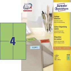 Avery Zweckform Etiketten, 105x148mm, 400 Etiketten, grün, für Laser-, Farblaser-, Inkjetdrucker, Kopierer, Packung à 100 Blatt, Blattformat: DIN A4