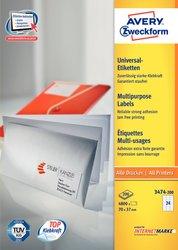 Universaletikett, für Inkjet / Farblaser / Laser (s/w) / Kopierer, 70 x 37 mm, weiß, rundrum Sicherheitskante 200 Blatt + 20 Blatt Gratis.
