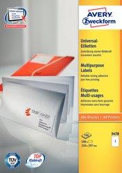 Avery Zweckform Etiketten, 210x297mm, 100 Etiketten, weiß, für Laser-, Farblaser-, Inkjetdrucker, Kopierer, Packung à 100 Blatt, Blattformat: DIN A4, ultra-Technologie für präzisen Druckeinzug