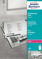 Transparente Klebefolien, A4, für Farblaser / Laser (s/w) / Kopierer, selbstklebend, 100 Blatt.