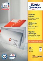 Avery Zweckform Etiketten, 70x41mm, 2100 Etiketten, weiß, für Laser-, Farblaser-, Inkjetdrucker, Kopierer, Packung à 100 Blatt, Blattformat: DIN A4, ultra-Technologie für präzisen Druckeinzug