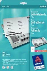 Transparente Klebefolie, A4, für Farblaser / Laser (s/w) / Kopierer, 0,13mm, selbstklebend.