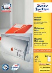 Universaletikett, für Inkjet / Farblaser / Laser (s/w) / Kopierer, 105 x 148 mm, weiß, rundrum Sicherheitskante, 200 Blatt + 20 Blatt Gratis.