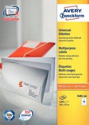 Universaletikett, für Inkjet / Farblaser / Laser (s/w) / Kopierer, 105 x 37 mm, weiß, rundrum Sicherheitskante, 200 Blatt + 20 Blatt Gratis.