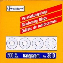 Lochverstärkungsring transparent, Spender, selbstklebend, 13 mm, Packung à 500 Stück.