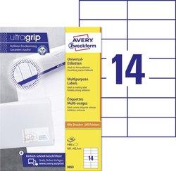 Avery Zweckform Etiketten, 15x42,3mm, 1400 Etiketten, weiß, für Laser-, Farblaser-, Inkjetdrucker, Kopierer, Packung à 100 Blatt, Blattformat: DIN A4, ultra-Technologie für präzisen Druckeinzug