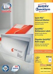 Avery Zweckform Etiketten, 97x42,3mm, 2400+240 Etiketten, weiß, für Laser-, Farblaser-, Inkjetdrucker, Kopierer, Packung à 200+20 Blatt, Blattformat: DIN A4, QuickPeel Abziehilfe, ultra-Technologie für präzisen Druckeinzug