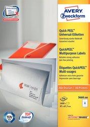 Universaletikett, für Inkjet / Farblaser / Laser (s/w) / Kopierer, permanent, 97 x 67,7 mm, weiß, rundrum Sicherheitskante, 200 Blatt + 20 Blatt Gratis.