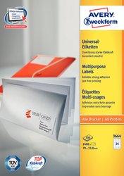 Avery Zweckform Etiketten, 70x33,8mm, 2400 Etiketten, weiß, für Laser-, Farblaser-, Inkjetdrucker, Kopierer, Packung à 100 Blatt, Blattformat: DIN A4, ultra-Technologie für präzisen Druckeinzug