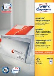 Universaletikett, für Inkjet / Farblaser / Laser (s/w) / Kopierer, 38 x 21,2 mm, weiß, rundrum Sicherheitskante, 220 Blatt / 14300 Stück.