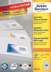 Universaletikett, für Inkjet / Farblaser / Laser (s/w) / Kopierer, permanent, 48,5 x 16,9 mm, weiß, rundrum Sicherheitskante 200 Blatt + 20 Blatt Gratis.