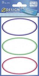 Haushaltsetikett HOM oval bunt 3 Bogen3 Blatt = 9 Etiketten