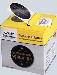 Promotion-Etiketten, Ø 38 mm, rund, schwarz/gold, repositionierbar, 200 Etiketten.