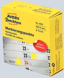 Markierungspunkte, Ø 10 mm, gelb, permanent, Inhalt: 250 Stück.