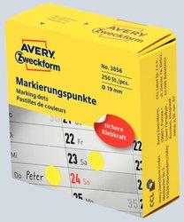 Markierungspunkte, Ø 19 mm, gelb, permanent, Inhalt: 250 Stück.