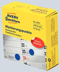 Avery Zweckform Markierungspunkte, Ø 19mm, blau, 250 Etiketten, Rolle