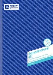 Kassenabrechnung, MwSt.-Spalte für Ausgaben, 1. Blatt mit Mikroperforation / 2. Blatt ohne Perforation , A4, weiß/gelb, mit Blaupapier, 2 x 50 Blatt.