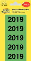 Jahreszahlen 2021, 60 x 24 mm, grün, permanent, blickdicht, 20 Bogen = 100 Etiketten.