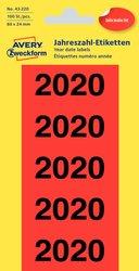 Jahreszahlen 2020, 60x24 mm, rot, 100 Etiketten, permanent