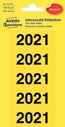 Jahreszahlen 2021, 60 x 24 mm, gelb, permanent, blickdicht, 20 Bogen = 100 Etiketten.