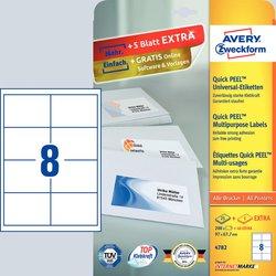 Universaletiketten, permanent, mit ultragrip, weiß, 97 x 67,7 mm, Inkjet, Farblaser, Laser s/w, Kopierer, DIN A4, 30 Bogen = 240 Etiketten.