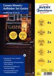 Corona Warnschilder Set Gastronomie, gelb/schwarz, Ø 200 mm, Kreis, permanent, Inhalt: 12 Stück.