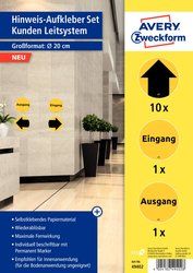 Corona Hinweis-Aufkleber Set, Kunden-Leitsystem, Ø 20cm, wiederablösbar, für Innenbereich, 1 Packung = 12 Etiketten