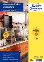 Corona Hinweis-Aufkleber Mundschutz benutzen, Ø 20cm, wiederablösbar, für Innenbereich, 1 Packung = 12 Etiketten