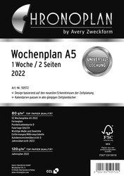 Chronoplan Wochenplan, A5, 2022, 1 Woche / 2 Seiten, Anordnung in Zeilen