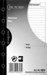 Chronoplan Adressen, Mini, 79 x 125 mm, Inhalt: 16 Blatt.