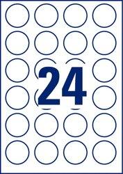 Wiederablösbare Etiketten, rund, für Inkjet / Laser (s/w) / Farblaser / Kopierer, 40 mm, weiß, 10 Bogen.
